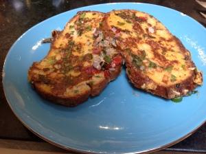 french toast and goan masala fish 016