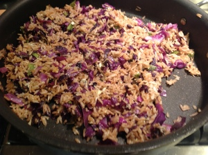 Fried rice with purple cabbage