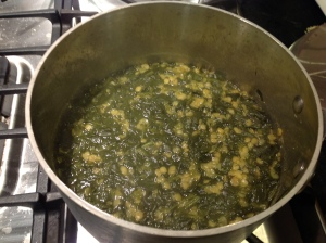 Spinach dal before seasoning