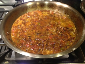 Browned onion tomato gravy