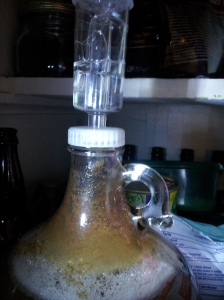 Bubbles in jug and airlock