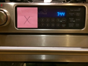 An 'X' to remind not to turn on the oven while yogurt is setting