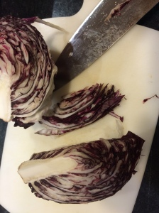 Radicchio gets sliced