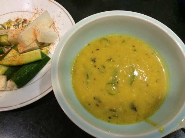Moong dal served with radish cucumber salad