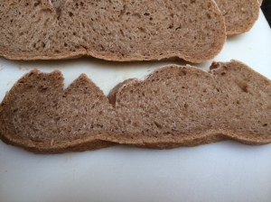 Deeply cut slice from disemboweled bread