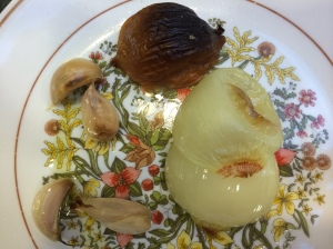 Broiling onion and garlic for Sambal