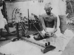 Gandhi at his charkha