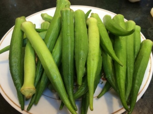 Pound of okra pods