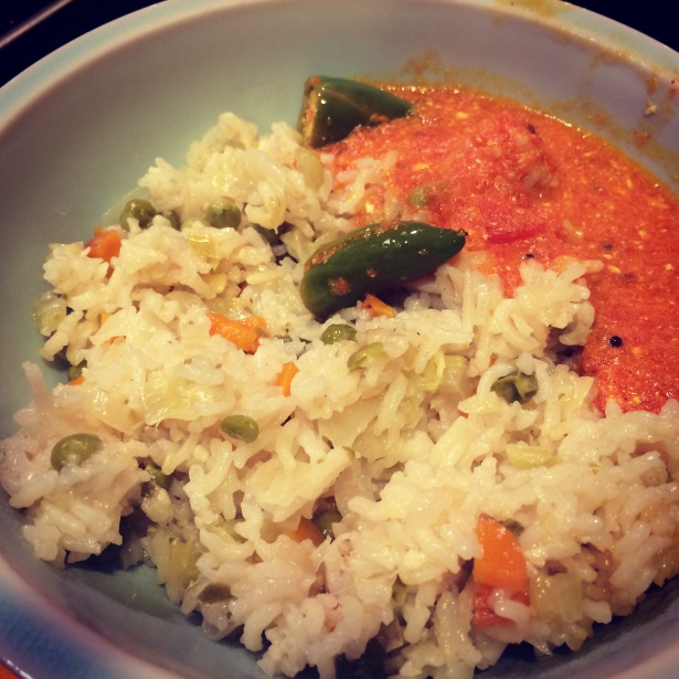 Vegetable pulav with tomato soup