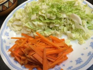 Shredded cabbage, julienned carrot