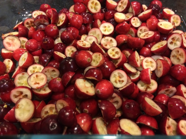 Cranberries cut in half