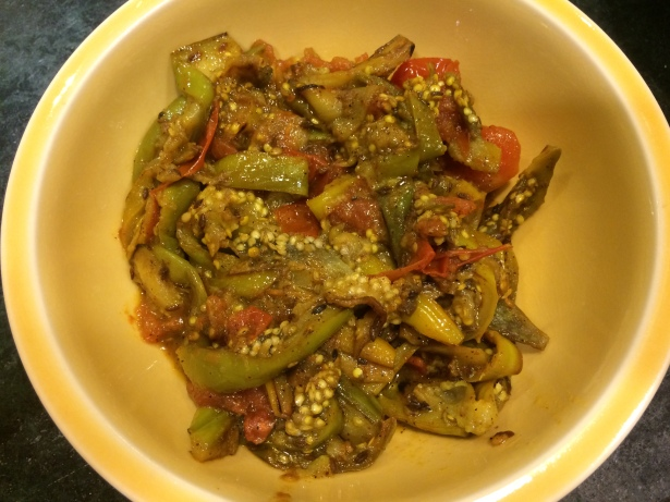 A dish made from eggplant and tomato -- two nightshades