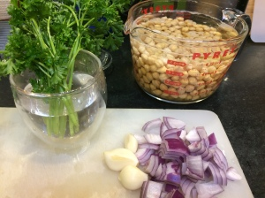 Soaking garbanzo beans and other ingredients