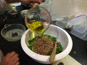 Pouring EVOO