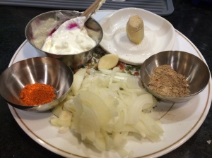 Flavor ingredients: yogurt, onions, garlic, ginger, chaat masala, red chili powder