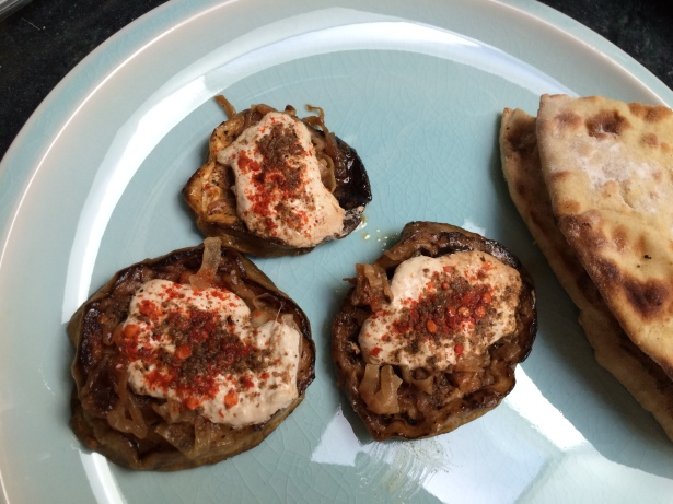 Eggplant topped with yogurt