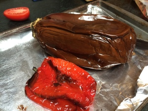 Roasted eggplant and bell pepper