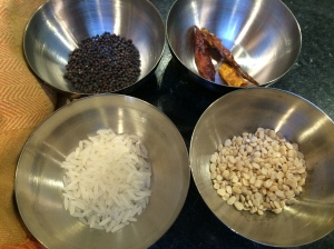 Tempering spices including rice