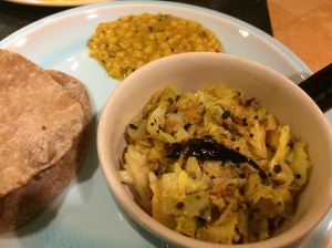 Cabbage thoran with roti and dal